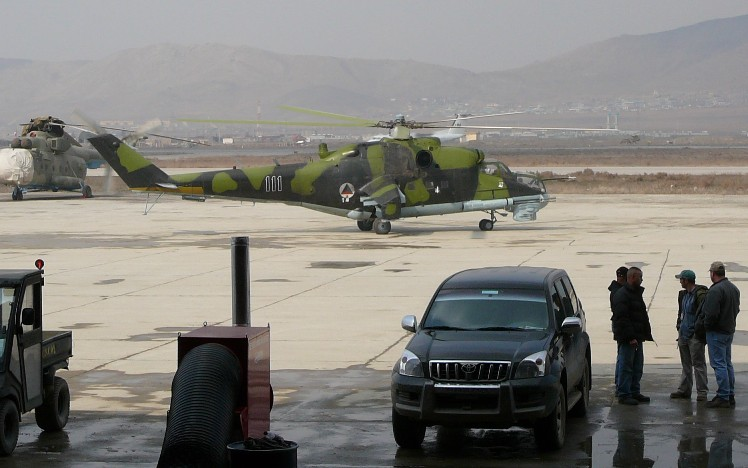 Mi-24P Afghan aviation taxiing for take-off.